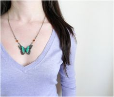 Emerald Butterfly necklace Wood pendant teal green by GBILOBA, €16.80