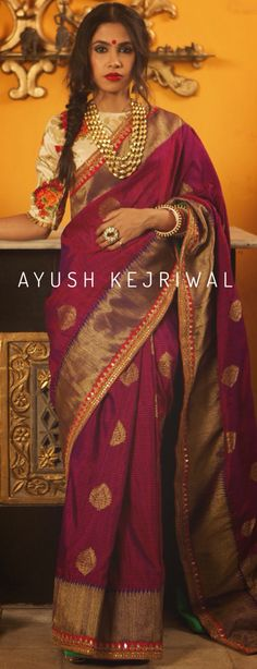 Benarsi Saree by Ayush Kejriwal For purchase enquires email me at… Benarsi Saree, Anarkali, Sabyasachi, Saree Dress, Indian Look, Indian Ethnic Wear, Ethnic Outfits, Indian Outfits, Ethnic Fashion