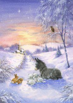 Cute Christmas Wallpaper, Christmas Artwork, Christmas Drawing, Christmas Paintings, Christmas Scenery, Noel Christmas, Christmas Animals, Winter Christmas, Illustration Noel