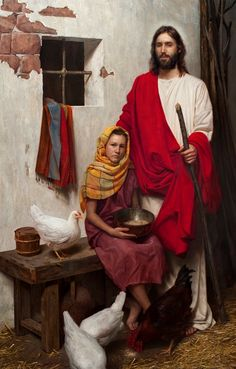Depicting a young girl tucked against Jesus Christ in an unknown town near Jerusalem, Jeff Hein's painting As a Hen Gathereth serves as an empowering reminder of both the Savior's love for each of us and our own ability to become like Him.