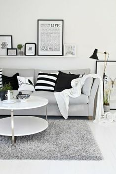 black and white living room, grey couch could work. Black White And Grey Living Room, Living Room White, White Rooms, Living Room Grey, Home Living Room, Living Room Designs, Living Room Decor, Apartment Living, Black And White Office