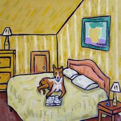 Basenji reading bed dog ceramic animal art tile coaster