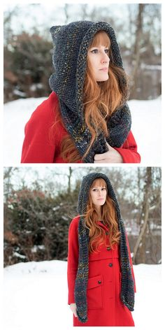 DIY Knit Beginner Hood ScarfWhat is nice about this hooded scarf is that it is so easy to knit! So if you are a beginner knitter, this is a perfect next project that works up quickly. Get the FREE PATTERN for this DIY Knit Beginner Hood Scarf from. Baby Knitting Patterns, Knitting Patterns Free, Crochet Patterns, Free Pattern, Easy Patterns, Pattern Ideas, Knitting For Beginners, Easy Knitting, Loom Knitting