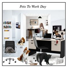 """""""Pets To Work Day"""" by pumsiks ❤ liked on Polyvore featuring art, office, cats, dogs and polyvoreeditorial"""