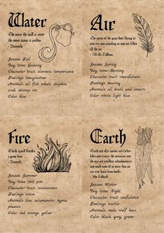4 elements for Book of Shadows