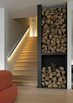 Wonderful staircase lighting - magic and magic in the home .- Wundervolle Treppenbeleuchtung – Magie und Zauber ins Zuhause bringen Wonderful stair lighting – bringing magic and magic to your home - Stair Handrail, Staircase Railings, Staircase Design, Stairways, Handrail Ideas, Stairway Lighting, Home Lighting, Lighting Design, Indoor Stair Lighting