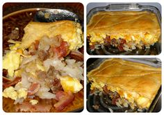 Layered Breakfast Casserole  2.5 Cups Hashbrowns  1 lb. Bacon and 0.5 Roll Jimmy Dean Maple Sausage  6-8 Scrambled Eggs  1 Cup Shredded Cheddar  1 Roll Pillsbury Crescent Roll Dough - Cook all ingredients (except crescent rolls and cheese) seperately. Layer ingredients in 8x8 baking dish. Roll out dough on top, make sure its completely covered (you should have 3 extra triangles leftover). Bake in oven at 350 degrees for 15 minutes or until top is golden brown. This is delicious!