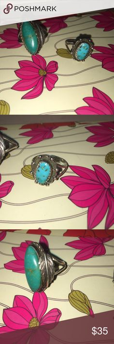 ONE DAY SALE! 4/5...vintage turquoise silver rings 4/5/2017 ONLY!!! ONE DAY SPECIAL SALE... after Wednesday this offer will be no longer be considered!!!  I will take off an ADDITIONAL $6 from the current listed price to the first buyer that puts in this update OFFER purchase to me. Selling two authentic turquoise & genuine silver rings. One is oblong shaped with a feather on side - other is oval w/silver beading decoration around. Sizes are approximate: size 5/6 BOTH ARE VERY OLD... were…