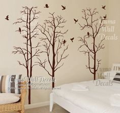Tree and bird wall decals Nursery wall sticker Branch ...