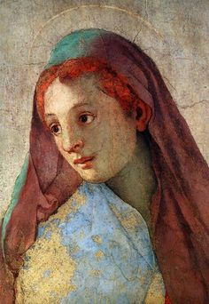 Annunciation of the Virgin Mary (detail)  1527-1528  Jacopo Carrucci Pontormo  In the Church of Santa Felicita, Cappella Capponi Florence.