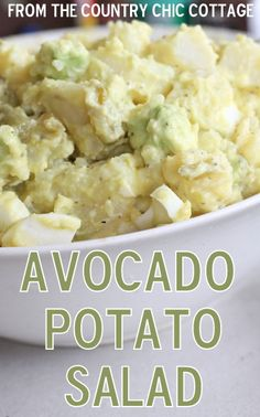 Avocado Potato Salad Recipe - perfect for your summer picnics! - The Country Chic Cottage I Love Food, Good Food, Yummy Food, Tasty, Vegetarian Recipes, Cooking Recipes, Healthy Recipes, Delicious Recipes, Avocado Recipes