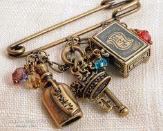 Alice In Wonderland Kilt Pin Scarf Pin Charm Brooch KC1003. $18.50, via Etsy.