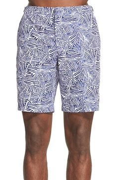 Quick-Dry Mens Beach Shorts Electric Forest Festival Logo Pattern White Swim Trunks with Adjustable Drawstring