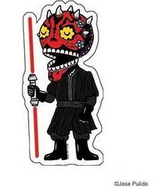 Star Wars Inspired Darth Maul Calavera Die Cut Clear Vinyl Sticker Sugar Skull - Day of the Dead - Weather Proof Decal