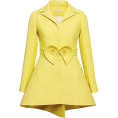 DELPOZO Lemon Yellow Double Paper Twill Jacket ($4,300) ❤ liked on Polyvore featuring outerwear, jackets, coats, a line jacket, beige jacket, long sleeve jacket, zip jacket and collar jacket