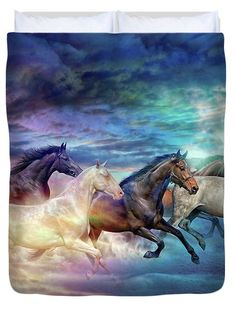 Herd Of Horses In Pastel Duvet Cover by Lilia D