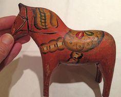 "Antique Swedish DALA HORSE  EARLY 6"" FLAT FINISH FOLK ART Sweden old  c 1900 #FOLKART #HandCarved"