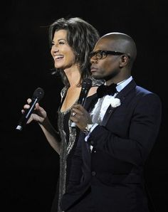 Amy Grand and Kirk Franklin talk during a break at the 44th Annual GMA Dove Awards at Lipscomb University. Tuesday Oct. 15, 2013, in Nashville, Tenn.