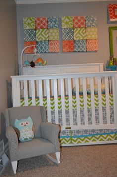 Fabric covered inexpensive foam tiles for nursery wall art | Project Nursery