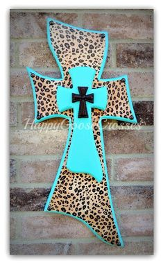 Wall CROSS - Wood Cross - Small - Turquoise and Leopard/Cheetah (or color of your choice) Painted Wooden Crosses, Wood Crosses, Cross Door Hangers, Costume Jewelry Crafts, Turquoise Walls, Mosaic Crosses, Cross Art, Cross Crafts, Crosses Decor