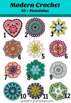 50+ Unique and colorful Mandala crochet patterns on Pattern-Paradise.com #crochet #patternparadisecrochet #affiliatelink #mandala