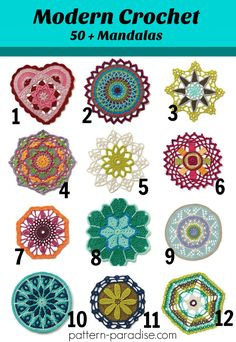 50+ Unique and colorful Mandala crochet patterns on Pattern-Paradise.com #crochet #patternparadisecrochet #affiliatelink #mandala