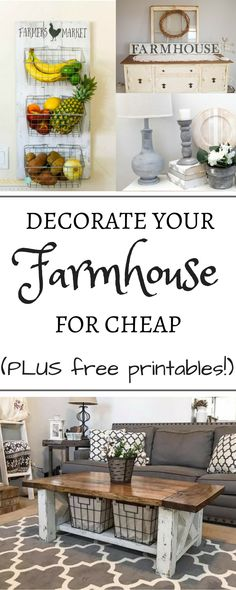 This is the best collection of creative, frugal, rustic, cheap projects to create beautiful DIY farmhouse décor. These are easy ideas and projects to decorate your kitchen, living room, bathroom, and bedroom with creative signs and rustic décor that you can make all on your own! Decorate one wall with rustic chic from the dollar tree or convert an entire room with easy crafts including mason jars and more than one free printable for your home! Farmhouse decorations have never been easier.