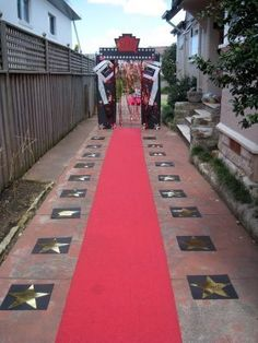 Create a red carpet for your Hollywood Party. This one's along the Walk of Fame!