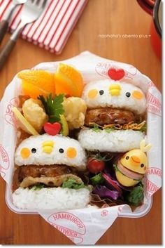 にわとりライスバーガー! ♡のピンがトサカっぽくて良い感じですね〜! 【レシピブログ】