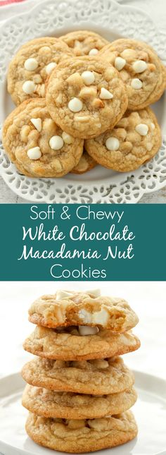 chewy cookies These White Chocolate Macadamia Nut Cookies have slightly crisp edges with soft and chewy centers. Loaded with extra white chocolate chips and macadamia nuts, these are guaranteed to be your new favorite cookie! Chocolate Chip Granola Bars, Chocolate Macadamia Nuts, White Chocolate Chip Cookies, White Chocolate Desserts, White Chocolate Brownies, Chickpea Chocolate Chip Cookies, White Desserts, Chocolate Cheese, Chocolate Chocolate