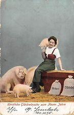 BG14787 woman with pig money coin  new year neujahr  germany