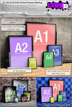 A1, A2, A3, A4, A5, Portrait Frames Mockup #GraphicRiver A Sizes 1-5 | Hi-Res | 3000×2500 Pixels | Smart Objects Replace The Frame Images The Floor & The Wall With Your Own Images | Portrait Frames | Gloss & Matt Frames | Switch The Light Reflection Of The Image On Or Off This Is A Very Eyecatching Way To Display & Present Your: Graphics, Advertisement, C.V, Template, Design, Background, Sign, Banner, Profile Page, Artwork, Poster, Flyer, Business Card, Logo, Picture, Photograph, Magazine…