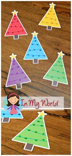 FREE Christmas Preschool Centers Cristmas- Tree Color Sorting
