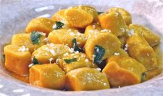 Print Pumpkin Ricotta Gnocchi with Crispy Brown Sage Butter Yield: Serves 4 Ingredients:2 cups of roasted pumpkin, pureed (roasted for 45 minutes at 350 degrees- canned may also be substituted) 1 cup whole milk ricotta 2 teaspoons salt 1/2 cup grated parmesan cheese dash nutmeg 3 cups flour For crispy brown sage butter: 2-3 …