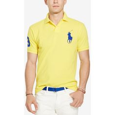 Polo Ralph Lauren Men's Custom-Fit Big Pony Mesh Polo Shirt ($60) ❤ liked on Polyvore featuring men's fashion, men's clothing, soft yellow, mens clothing, men's apparel and polo ralph lauren mens clothing