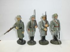 Konvolut 4 alte Hausser Elastolin Massesoldaten stillgestanden Wachposten 7cm | eBay