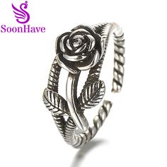 Vintage Silver Rose Flower Rings For Fashion Women Jewelry Thai Silver Adjusted Ring Size Drop Shipping SoonHave engagement Gift. Yesterday's price: US $32.99 (27.27 EUR). Today's price: US $3.30 (2.73 EUR). Discount: 90%.