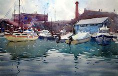 Boat sales Hotwells, Bristol, watercolor by Tim Wilmot