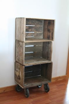 wood crate shelf.  Image this same thing with milk crates and a dolly from PE class.  Attach carton so that other cartons can stack on top = great storage solution!
