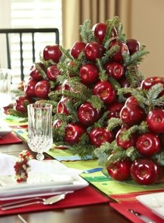 apple tree for Christmas table centerpiece