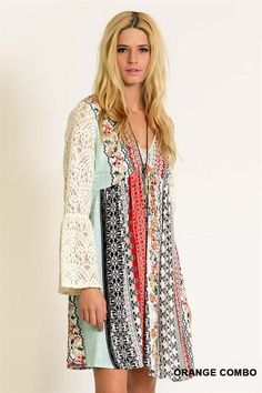 Flower Child Peasant Dress lace sleeves printed stripes
