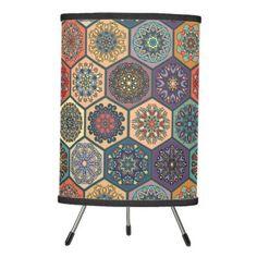 #home #lamps #decor - #Vintage patchwork with floral mandala elements tripod lamp