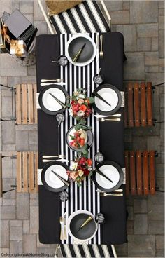 Party Ideas Check out this black & white celebration tabletop for inspiration for hosting those special occasions. From birthdays to graduation dinner parties, these simple pairings will work great! Dinner Party Decorations, Dinner Party Table, Decoration Table, Dinner Parties, Wedding Dinner, Wedding Decorations, Wedding Reception, Picnic Parties, Graduation Decorations