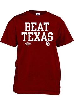 Russell Oklahoma Sooners Kids Cardinal Beat Texas Short Sleeve Tee