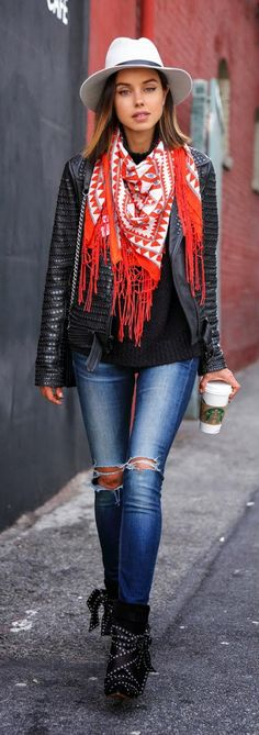 studded leather motorcycle jacket, square scarf in red, skinny jeans in blue and Ankle boots / VivaLuxury