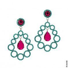 Brinco círculos com cristais azul e rubi em rhodium escuro