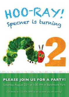 The Very Hungry Caterpillar  Birthday Party Invitation Design