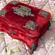 19th century french tufted red silk vanity dresser box