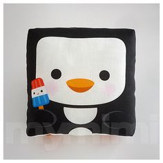 Decorative Pillow Penguin Pillow Animal Pillow Black and by mymimi