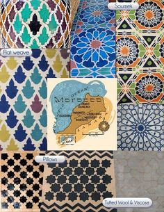 Ancient Moroccan tile and ceramic used for Surya's new collection of Moroccan-inspired rugs and embroidered pillows.